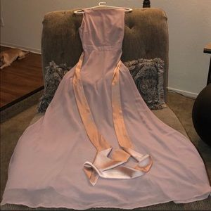 Rose Colored Dress With Satin Tie